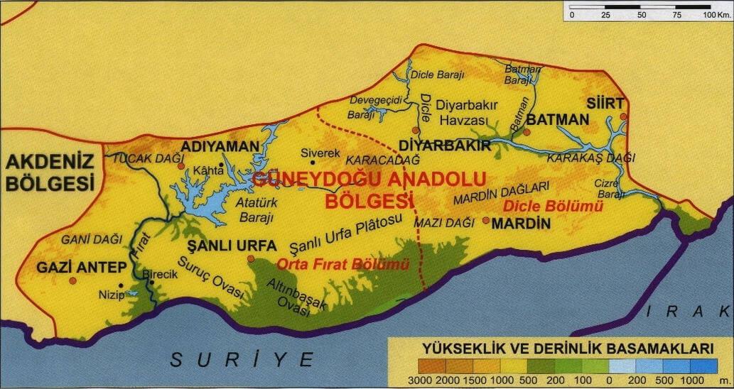 Güneydoğu Anadolu Bölgesi Haritası