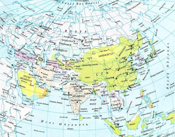 Ülkeler bulunur ve asya kıtasının fiziki ve siyasi haritaları