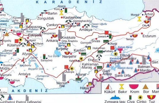 Türkiye'de Madencilik ve Enerji Kaynakları – Çıkarılan Madenler Haritaları