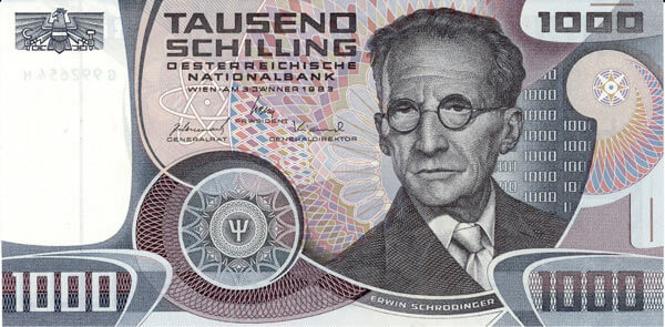 Erwin Schrödinger, 1983'teki 1000 Schilling banknotunda