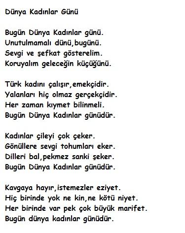 Dünya Kadınlar Günü şiiri