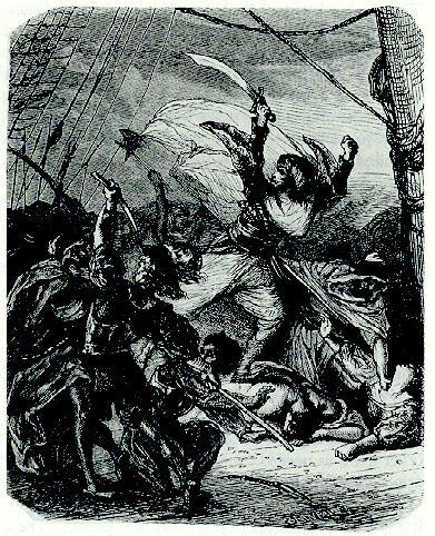 Oruç Reis bir resimde canlandırılmış.