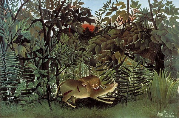Henri Rousseau - Antilopun Üzerine Atlayan Aç Aslan