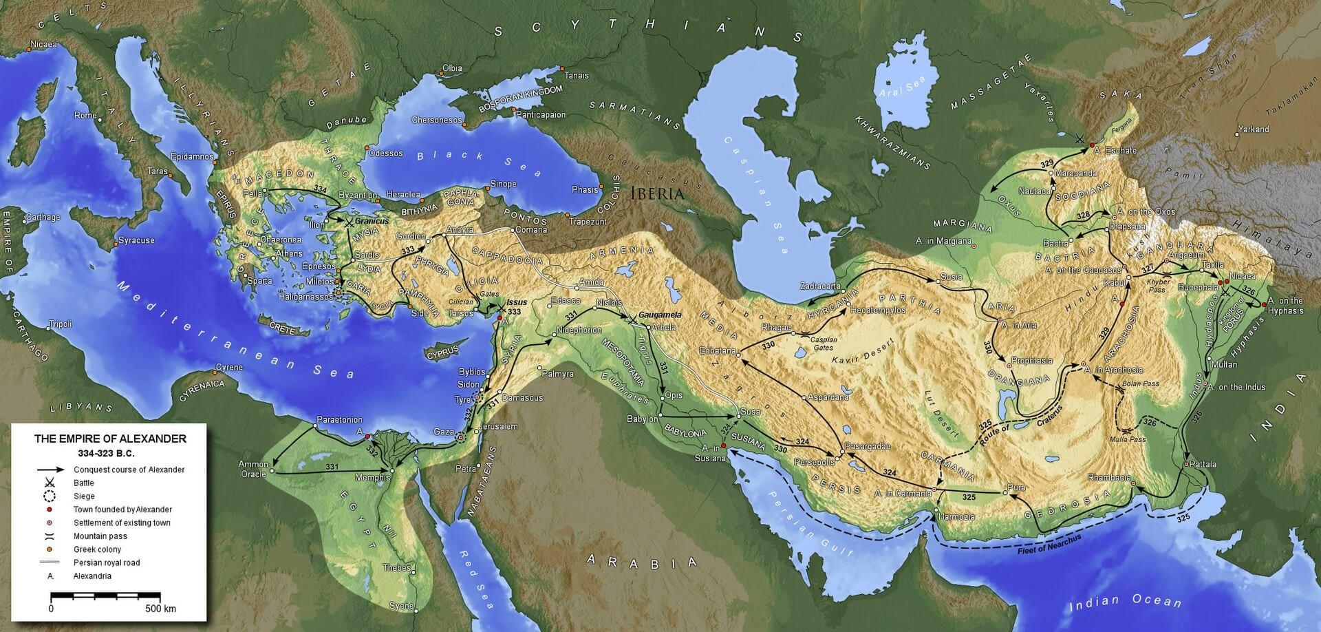 Büyük İskender'in imparatorluğunun haritası ve rotası