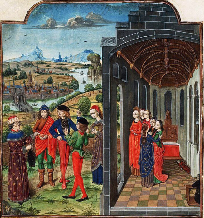 Boccaccio ve vebadan kaçan diğerleri; Decamerone'un Fransız baskısının aydınlatması (c. 1485)