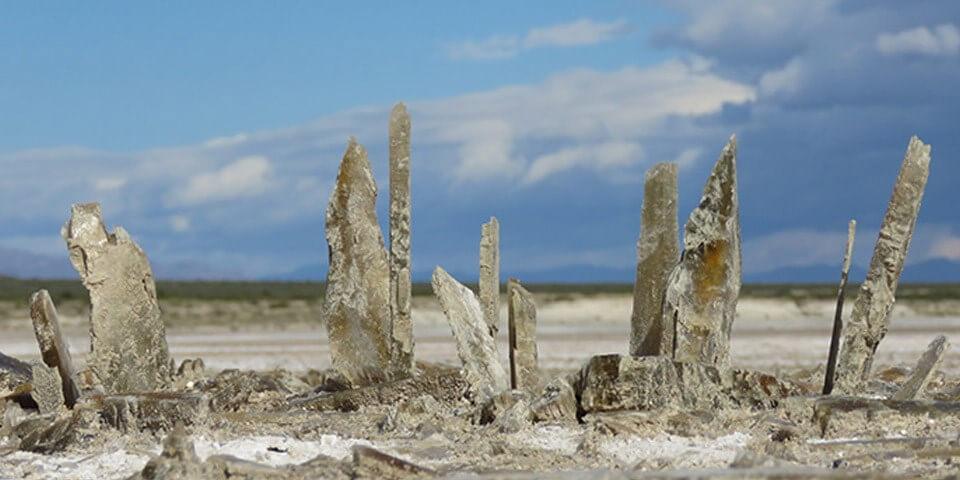 White Sands Ulusal Parkı Lucero Gölü'nde su buharlaşırken oluşan kristaller.