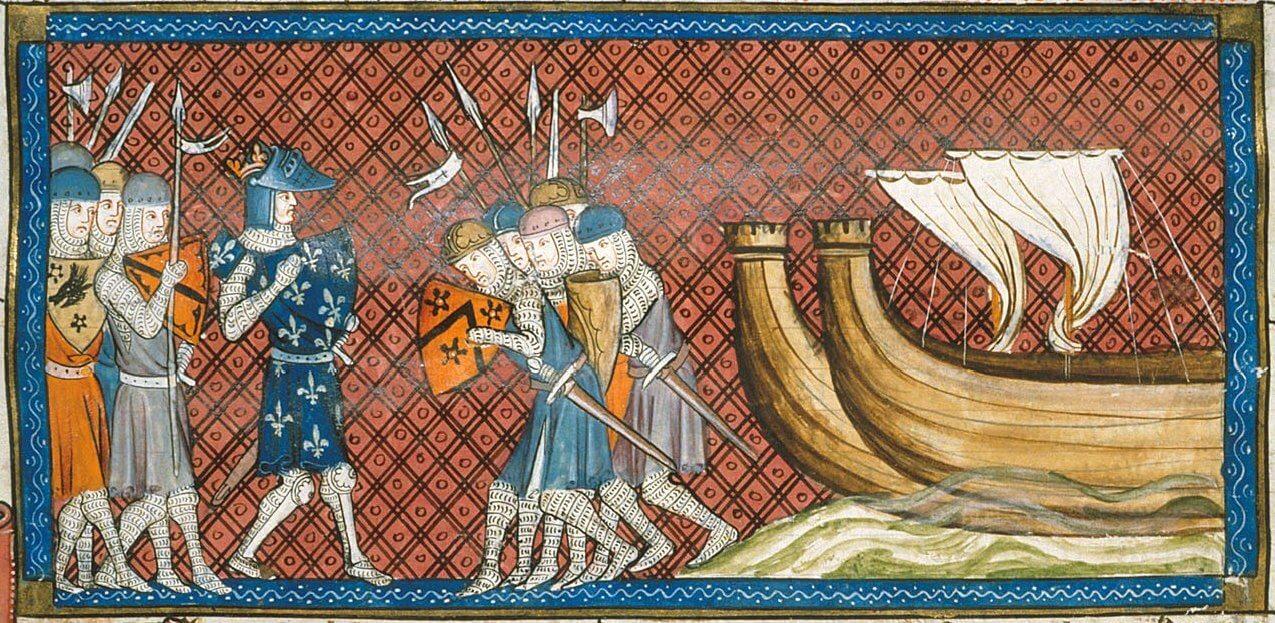 Fransa Kralı II. Philip'in Doğu Akdeniz'e varmasını gösteren minyatür (Kraliyet MS 16 G VI, 14. yüzyılın ortası)