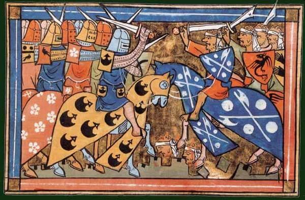 İkinci Haçlı Seferi sırasında bir savaşın William of Tyre's Histoire d'Outremer'ından 14. yüzyıl minyatürü