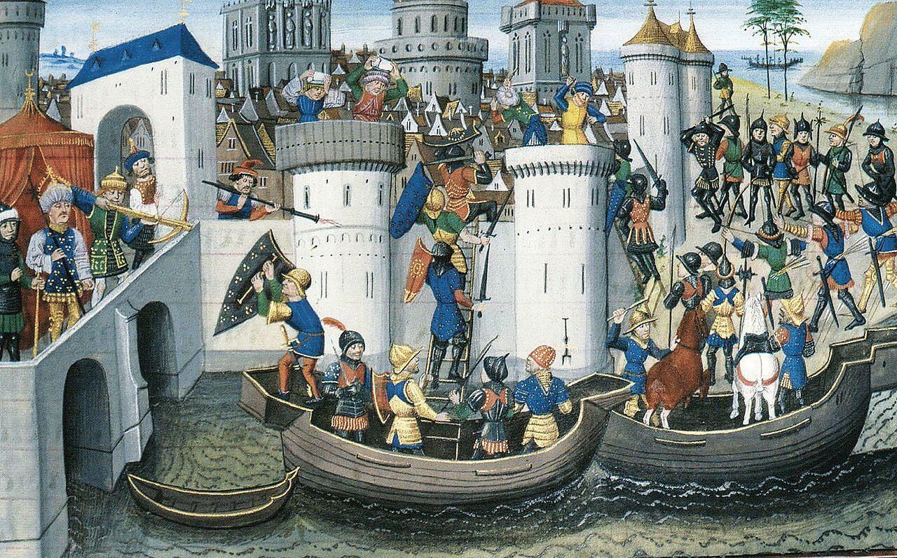 1204'te Ortodoks şehri Konstantinopolis'in haçlılar tarafından fethi (BNF Arsenal MS 5090, 15. yüzyıl)