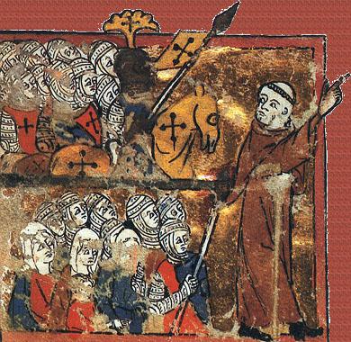 Halkın Haçlı Seferi'ne liderlik eden Hermit Peter'in minyatürü (Egerton 1500, Avignon, 14. yüzyıl)