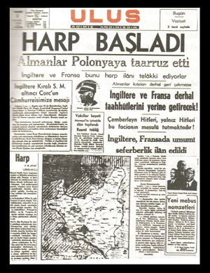 İkinci Dünya Savaşının başlamasını bildiren Ulus Gazetesi