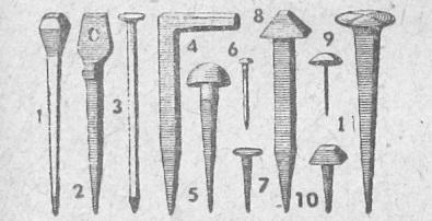 1 — Nal, 2 — Delik başlı, 3 — İnşaat, 4 — Kancalı, 5 — Yuvarlak başlı, 6 — İnce, 7 — Nalın, 8 — Köşeli, 9 — Döşemeci, 10 — Kabara ve 11 — Sandal çivileri