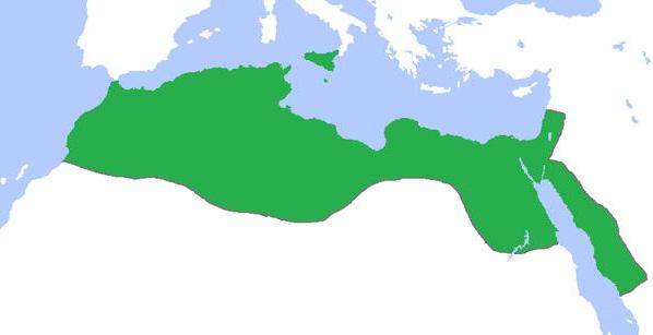 Fatımilerin ulaşabildikleri en geniş sınırı gösteren harita