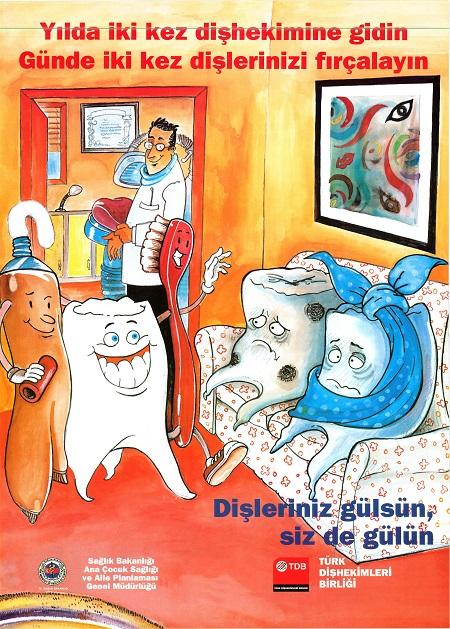 Ağız ve diş sağlığı ile ilgili afişler ve posterler