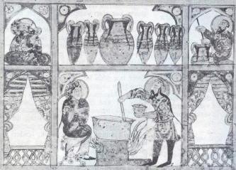 Balın tıpta kullanılmak üzere hazırlanışı, Dioskorides'in Peri hyles iatrikes adlı kitabının Arapça çevirisinden bir illüstrasyon