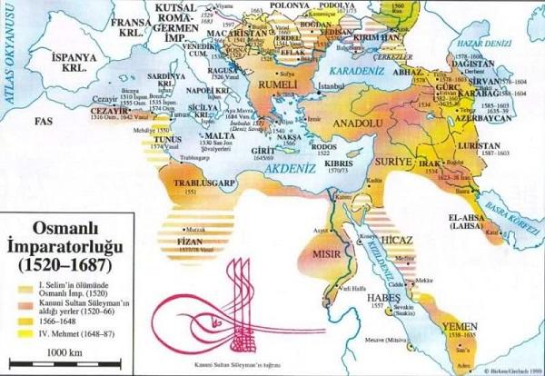 Osmanlı Duraklama Dönemi Haritası