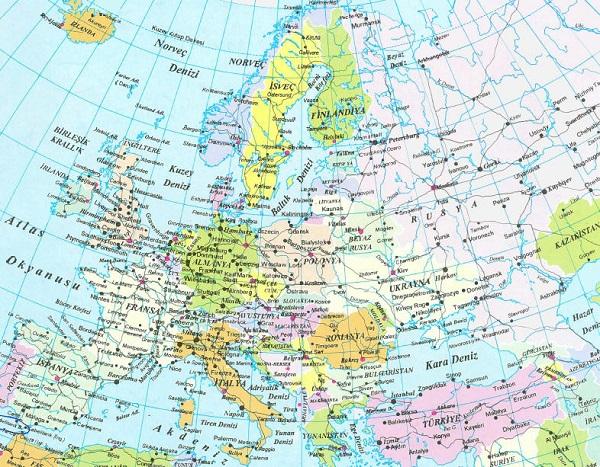 Avrupa kıtası ülkeleri ve avrupa kıtası haritası