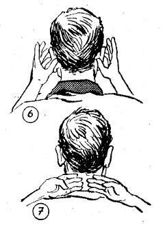 6 ve 7- Islak elin baş ve serçe parmakları ile sıvazlanarak kulaklar meshedilir. Ardından boyun ıslak parmakların tersiyle ense ortasından yanlara doğru meshedilir.