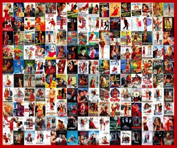 Kırmızı kıyafetli kahramanların yer aldığı sinema posterleri.