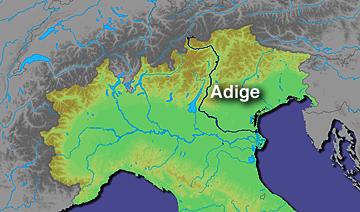 Adige Irmağı Haritası
