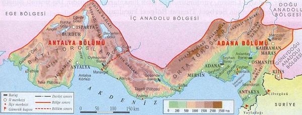 Akdeniz Bölgesi haritası