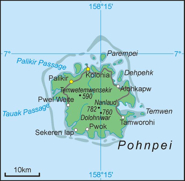 Ponape Adası Haritası