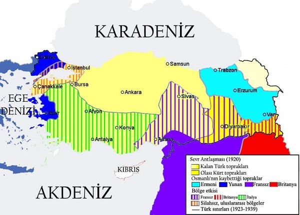 Sevr Antlaşması Paylaşım Haritası