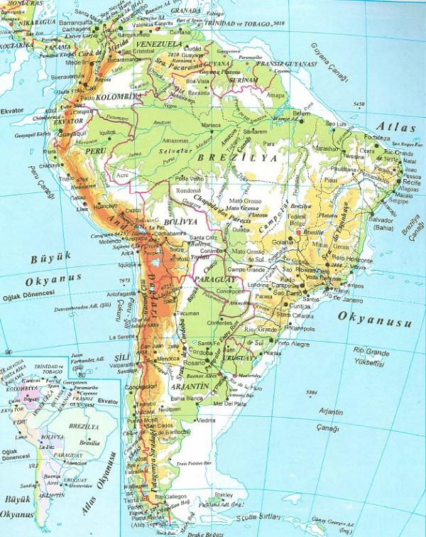Güney Amerika Fiziki Harita