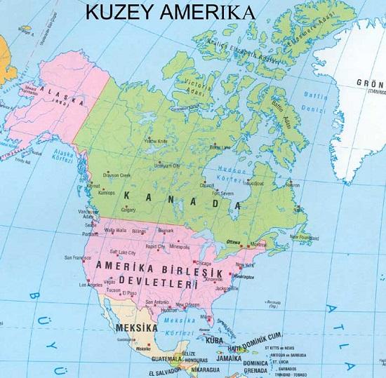 Kuzey Amerika Siyasi Haritası