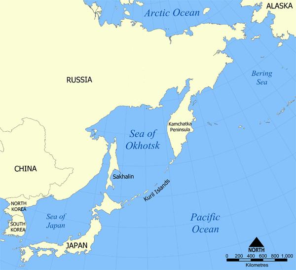 Ohotsk Denizi Haritası