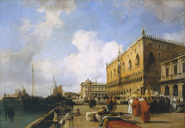 Venice: Ducal Palace with a Religious Procession exhibited 1828 by Richard Parkes Bonington 1802-1828