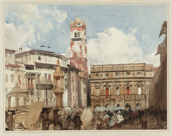 Verona, Piazza dell'Erbe circa 1826-7 by Richard Parkes Bonington 1802-1828
