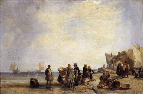 French Coast with Fishermen circa 1825 by Richard Parkes Bonington 1802-1828