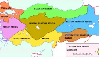 İngilizce Türkiye Bölgeler Haritası