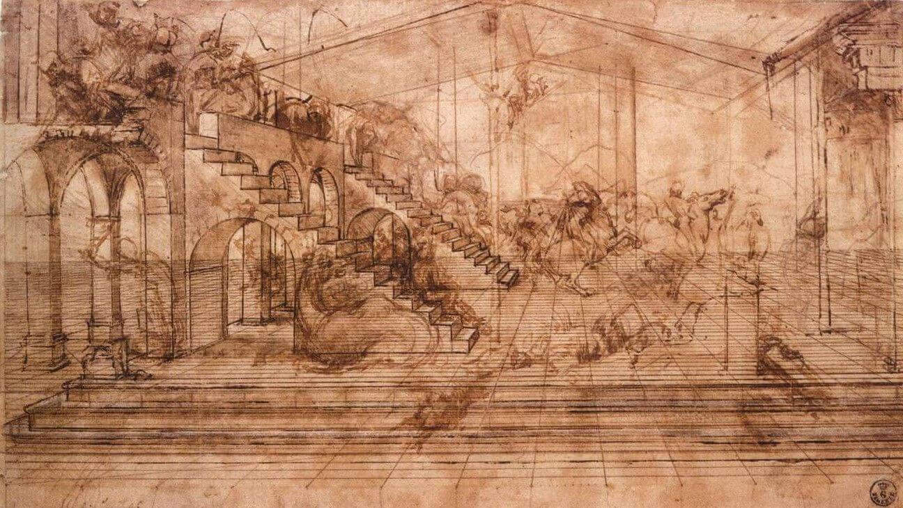 Müneccim Kralların Tapınması için arka planın perspektif eskizi