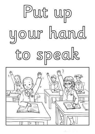 İngilizce Sınıf Kuralları Boyama Sayfaları
