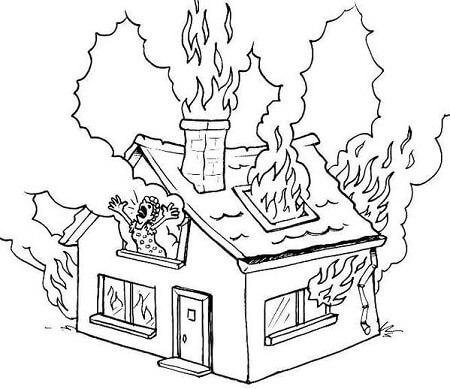 Раскраски пожар дома своего
