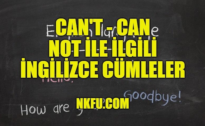 Can't - Can not İle İlgili İngilizce Cümleler
