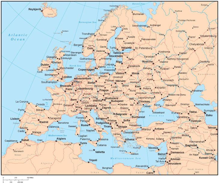 Avrupa Haritası - Şehirler
