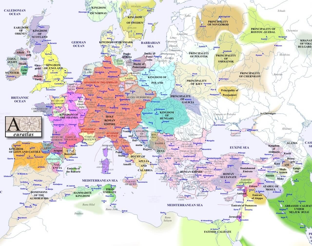 Tarihi Avrupa Haritası - 1100'lü seneler