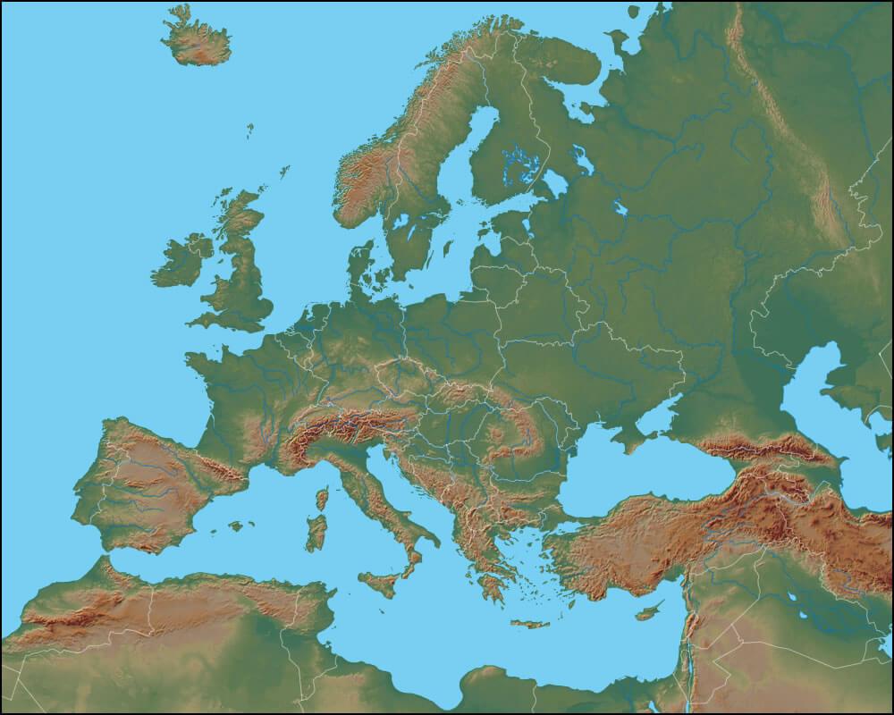 Coğrafi Avrupa Haritası