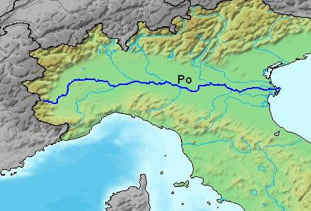 Po ırmağı'nın haritaki gösterimi.