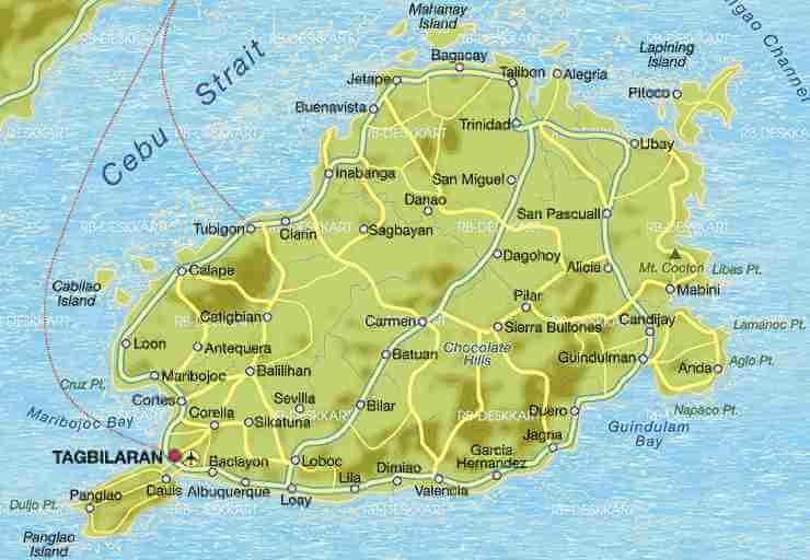 Bohol Adası Haritası