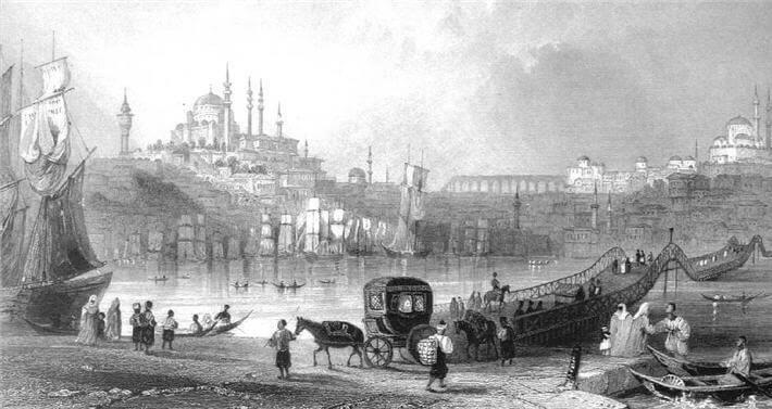 İstanbul Eski Haliç'i gösteren bir gravür örneği
