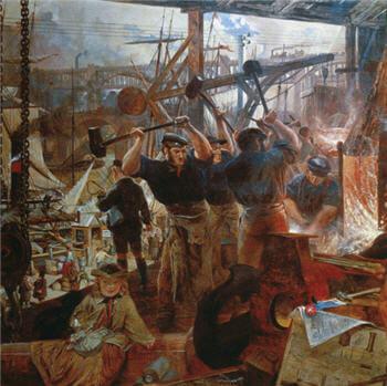 Naturalizm resim sanatına bir örnek : William Bell Scott - Demir ve Kömür isimli tablosu