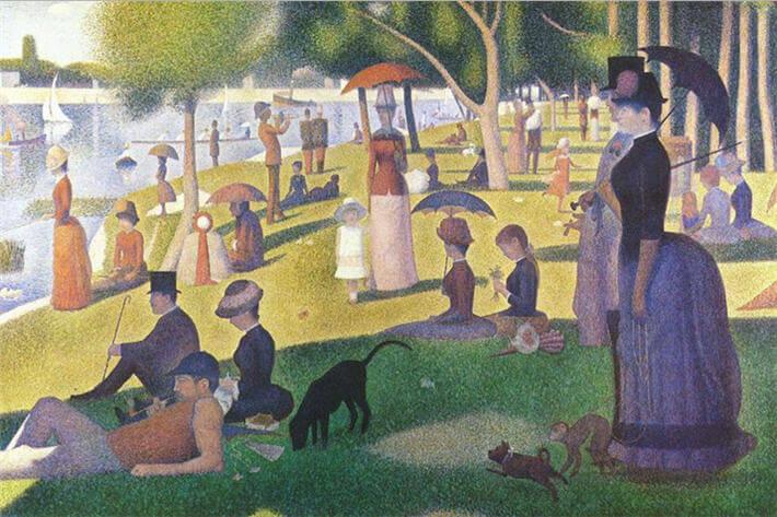 Georges Seurat - Grande Jatte Adası'nda Bir Pazar Öğleden Sonrası isimli tablosu
