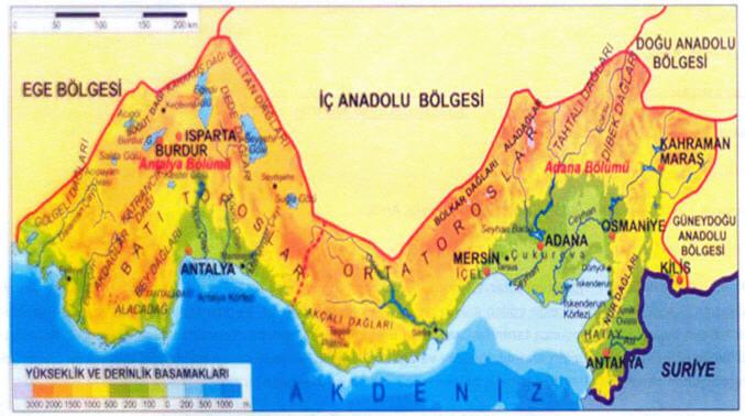 Akdeniz Bölgesi Bölümleri Haritası