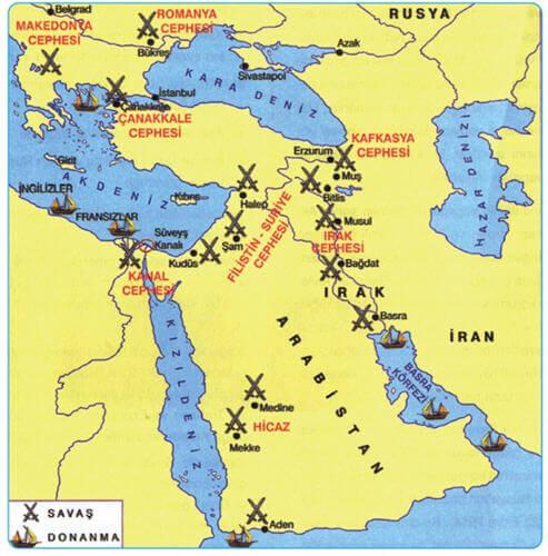 Osmanlı İmparatorluğunun Birinci Dünya Savaşında Savaştığı Cepheler