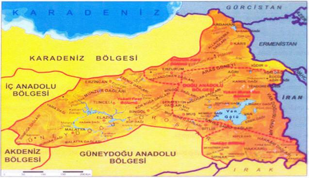 Doğu Anadolu Bölgesi Bölümleri Haritası