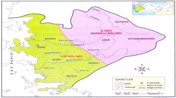 Ege Bölgesi Bölümleri Haritası